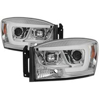 06-08 Dodge RAM 1500-3500 LED Tube Projector Headlights - Chrome