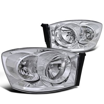06-08 Dodge Ram 1500 Crystal Headlights (Clear Reflector)- Chrome