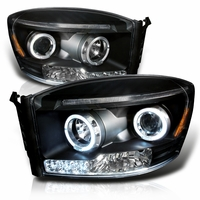 06-08 Dodge Ram Dual Halo & LED Strip Projector Headlights - Black