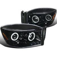 06-08 Dodge Ram Dual Halo & LED Strip Projector Headlights - Gloss Black / Clear