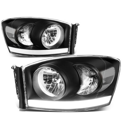 06-08 Dodge RAM LED DRL Crystal Headlights - Black Clear