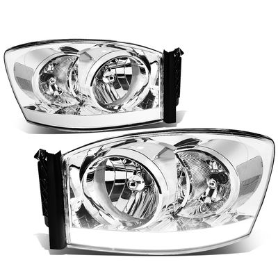 06-08 Dodge RAM LED DRL Crystal Headlights - Chrome Clear