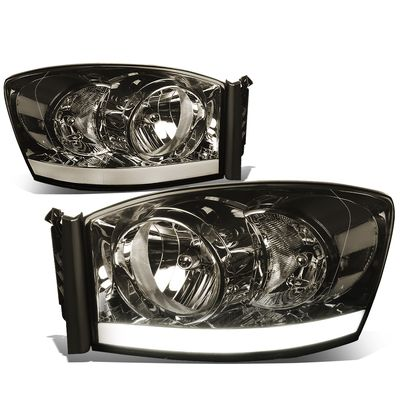 06-08 Dodge RAM LED DRL Crystal Headlights - Smoked Clear