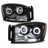 2006-2008 Dodge RAM 1500 2500 3500 Angel Eye Halo & LED Projector Headlights - Black