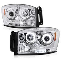 2006-2008 Dodge RAM 1500 2500 3500 Angel Eye Halo & LED Projector Headlights - Chrome