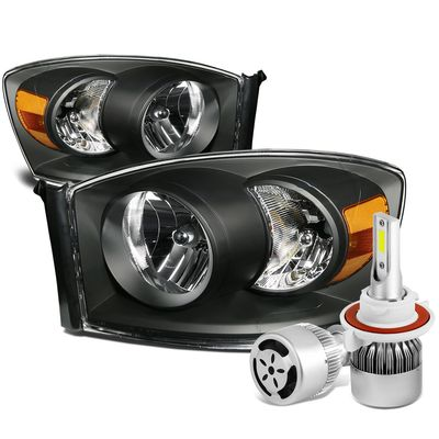 06-08 Dodge Ram Replacement Headlight (Black Housing Amber Reflector)+6000K White LED w/ Fan