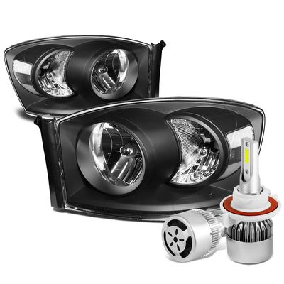 06-08 Dodge Ram Replacement Headlight (Black Housing Clear Reflector)+6000K White LED w/ Fan
