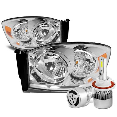 06-08 Dodge Ram Replacement Headlight (Chrome Housing Amber Reflector)+6000K White LED w/ Fan