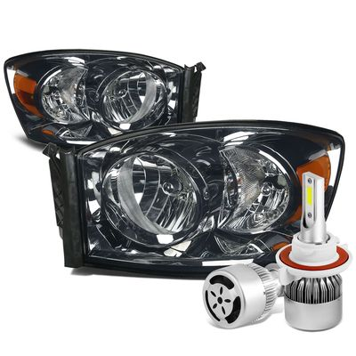 06-08 Dodge Ram Replacement Headlight (Smoke Lens Amber Reflector)+6000K White LED w/ Fan