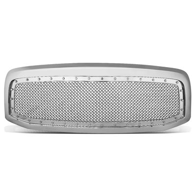 06-08 Dodge RAM [Rivet Mesh Style] Replace ABS Front Grille - Chrome / Chrome
