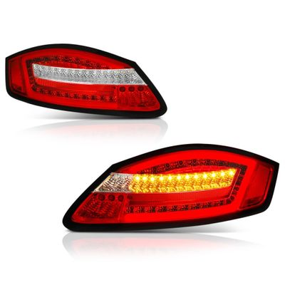 06-08 Porsche 987 Cayman / 05-08 Boxster  LED Tail Lights - Red Clear