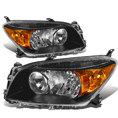 06-08 Toyota RAV4 OE-Style Replacement Headlights  - Black / Amber