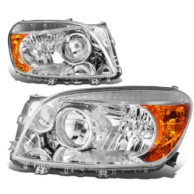 06-08 Toyota RAV4 OE-Style Replacement Headlights  - Chrome / Amber