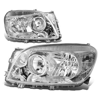 06-08 Toyota RAV4 OE-Style Replacement Headlights  - Chrome / Clear