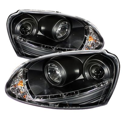 06-08 Volkswagen Golf / Jetta Euro LED DRL Projector Headlights - Black