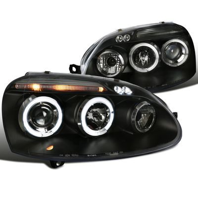 06-08 Volkswagen Golf / Rabbit / 06-10 Jetta Angel Eye Halo LED DRL Projector Headlights - Black