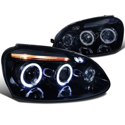 06-08 Volkswagen Golf / Rabbit / 06-10 Jetta Angel Eye Halo LED DRL Projector Headlights - Gloss Black