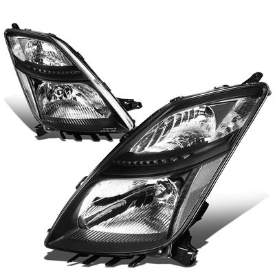 06-09 Toyota Prius [Halogen Model] OE-Style Replacement Headlights  - Black / Clear