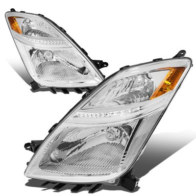 06-09 Toyota Prius [Halogen Model] OE-Style Replacement Headlights  - Chrome / Amber
