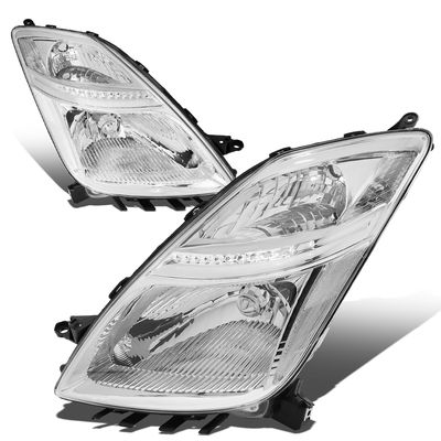 06-09 Toyota Prius [Halogen Model] OE-Style Replacement Headlights  - Chrome / Clear