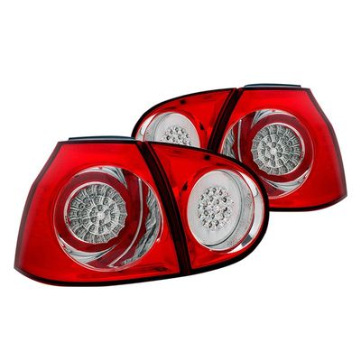06-09 Volkswagen MK5 Golf / GTI / Rabbit Euro Style LED Tail Lights - Red / Clear