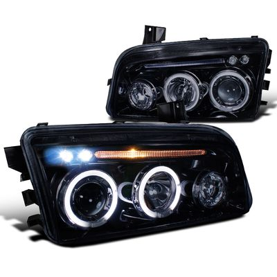 06-10 Dodge Charger [Halogen Model] Halo & LED DRL Projector Headlights - Gloss Black