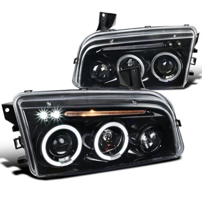 06-10 Dodge Charger [Halogen Model] Halo & LED DRL Projector Headlights - Gloss Black / Smoked