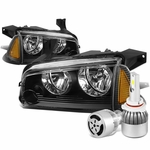 06-10 Dodge Charger LX 4pcs Black Housing Clear Lens Headlight+Amber Corner Signal Light+6000K White LED w/ Fan