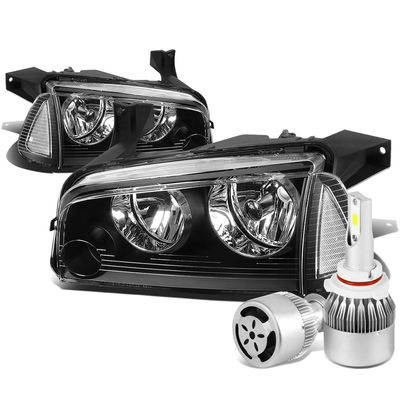 06-10 Dodge Charger LX 4pcs Black Housing Clear Reflector Headlight+Amber Corner Signal Light+6000K White LED w/ Fan