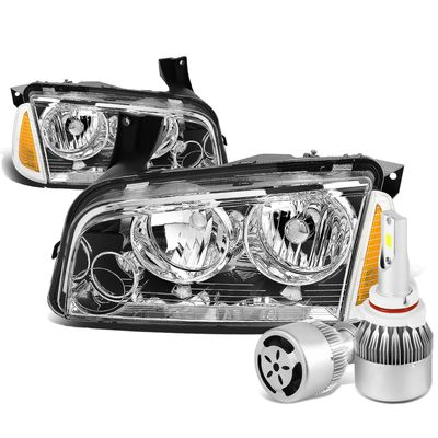 06-10 Dodge Charger LX 4pcs Chrome Housing Clear Lens Headlight+Amber Corner Signal Light+6000K White LED w/ Fan