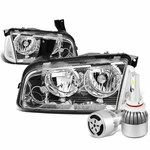 06-10 Dodge Charger LX 4pcs Chrome Housing Clear Reflector Headlight+Amber Corner Signal Light+6000K White LED w/ Fan