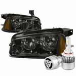 06-10 Dodge Charger LX 4pcs Smoke Lens Clear Reflector Headlight+Amber Corner Signal Light+6000K White LED w/ Fan