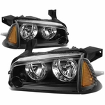 06-10 Dodge Charger Replacement Crystal Headlights Set - Black Amber