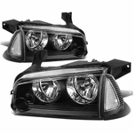 06-10 Dodge Charger Replacement Crystal Headlights Set - Black Clear