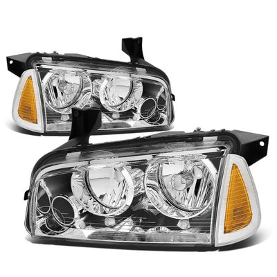 06-10 Dodge Charger Replacement Crystal Headlights Set - Chrome Amber
