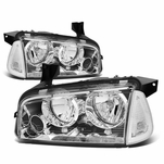 06-10 Dodge Charger Replacement Crystal Headlights Set - Chrome Clear
