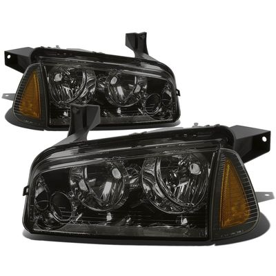 06-10 Dodge Charger Replacement Crystal Headlights Set - Smoked Amber