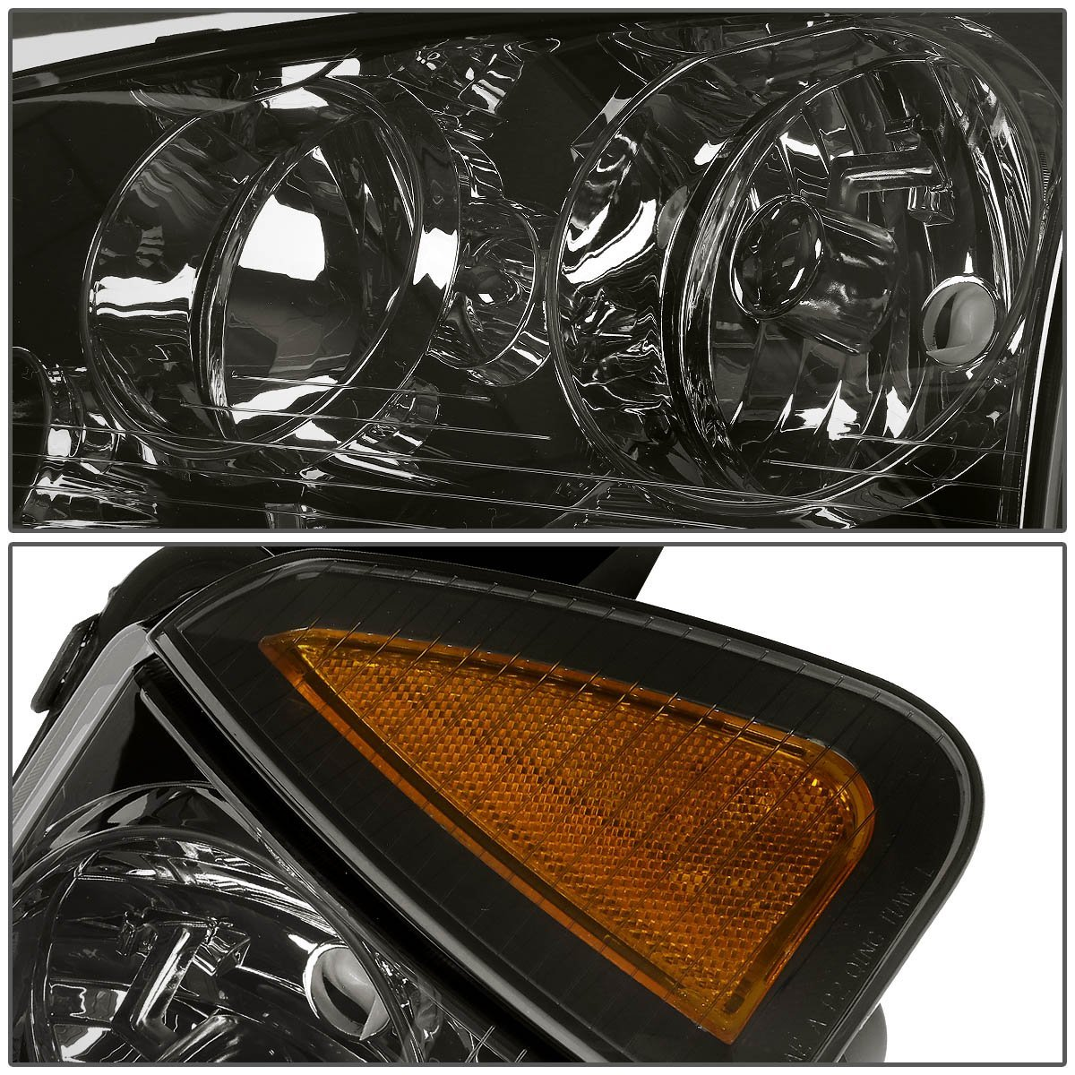 4Pcs Chrome Housing Headlight Amber Corner Turn Signal Light Lamps Replacement for Dodge Charger LX 06-10