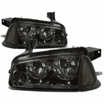 06-10 Dodge Charger Replacement Crystal Headlights Set - Smoked Clear