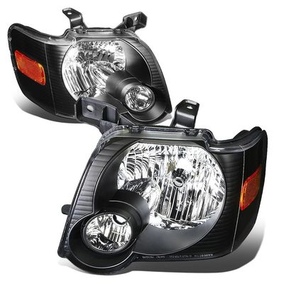 06-10 Ford Explorer/ 07-10 Sport Trac Replacement Crystal Headlights - Black