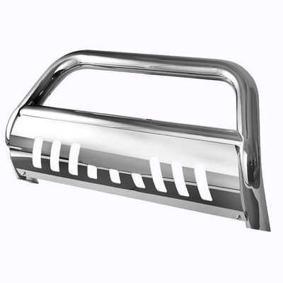 06-10 Ford Explorer / 07-11 Sport TracT-304 Stainless Steel Grille Grill Push Bull Bar With Skid Plate - Polished Chrome