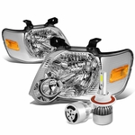 06-10 Ford Explorer/Sport Trac Replacement Headlight (Chrome Housing Amber Reflector)+6000K White LED w/ Fan