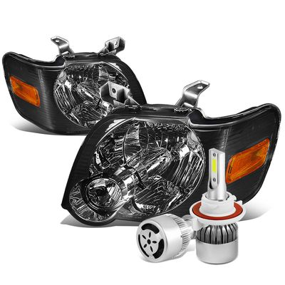 06-10 Ford Explorer/Sport Trac Replacement Headlight (Smoke Lens Amber Reflector)+6000K White LED w/ Fan