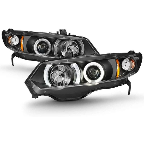 Spyder 06-10 Honda Civic 2Dr Coupe Dual Halo Projector Headlights - Black