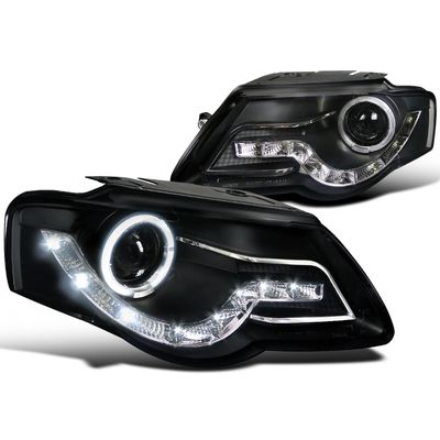 06-10 VW Passat LED DRL Halo Projector Headlights - Black