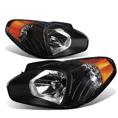 06-11 Hyundai Accent Crystal Replacement Headlights - Black