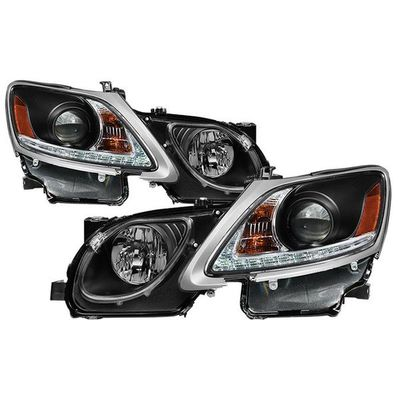 06-11 Lexus GS300 GS350 GS430 [HID Model] LED DRL Projector Headlights - Black