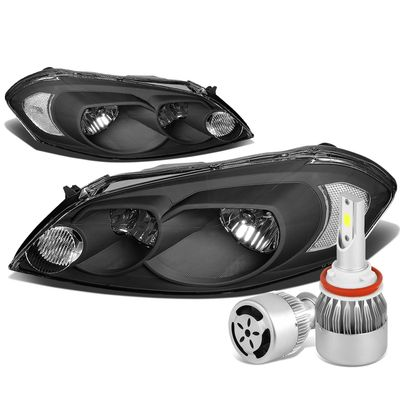 06-13 Chevy Impala/Monte Carlo Headlight Assembly (Black Housing Clear Reflector)+6000K White LED w/ Fan