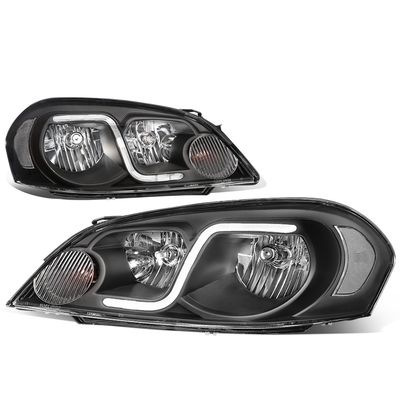 06-13 Chevy Impala / Monte Carlo LED DRL Tube Crystal Headlights - Black / Clear