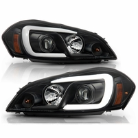 06-13 Chevy Impala Optic LED Tube Projector Headlights - Black